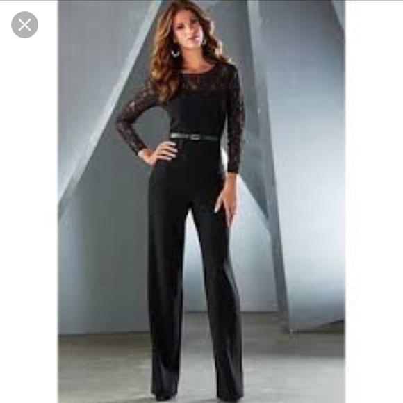 e5c04b29dc9 Venus black lace top wide leg jumpsuit. M 5ad8f19384b5cefc2a384233
